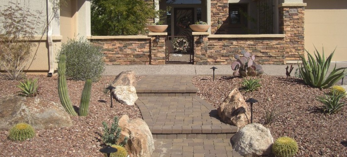 Stone Courtyard Walls Phoenix Arizona Landscape Design