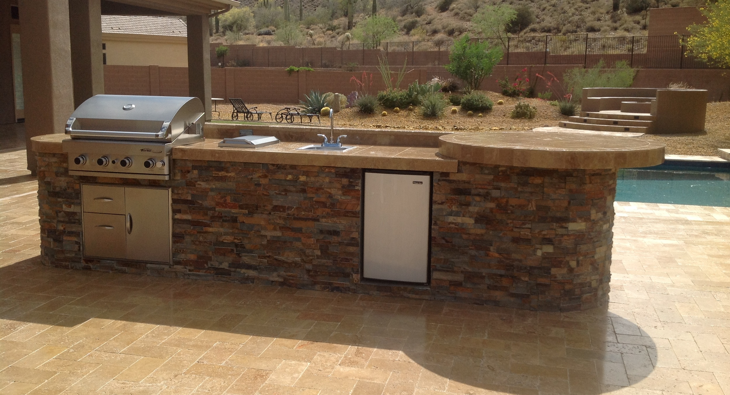 Travertine-Topped Stone Outdoor Kitchen, Anthem AZ