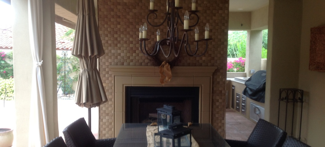 Travertine Outdoor Fireplace