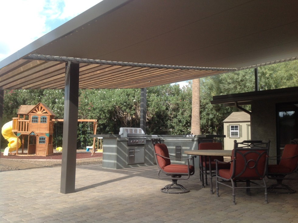 Instant solid shade! Sunbrella shade roofs, a long-lasting alternative to traditional wood shade roofs, Scottsdale..