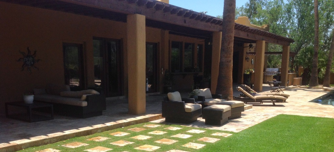 Adding fresh sod to the backyard really made this Scottsdale patio - pool deck remodeling project shine.