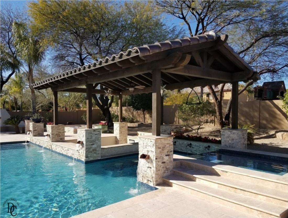Peoria, AZ swimming pool shade structure cools the space beneath it due to its clay tile roof.