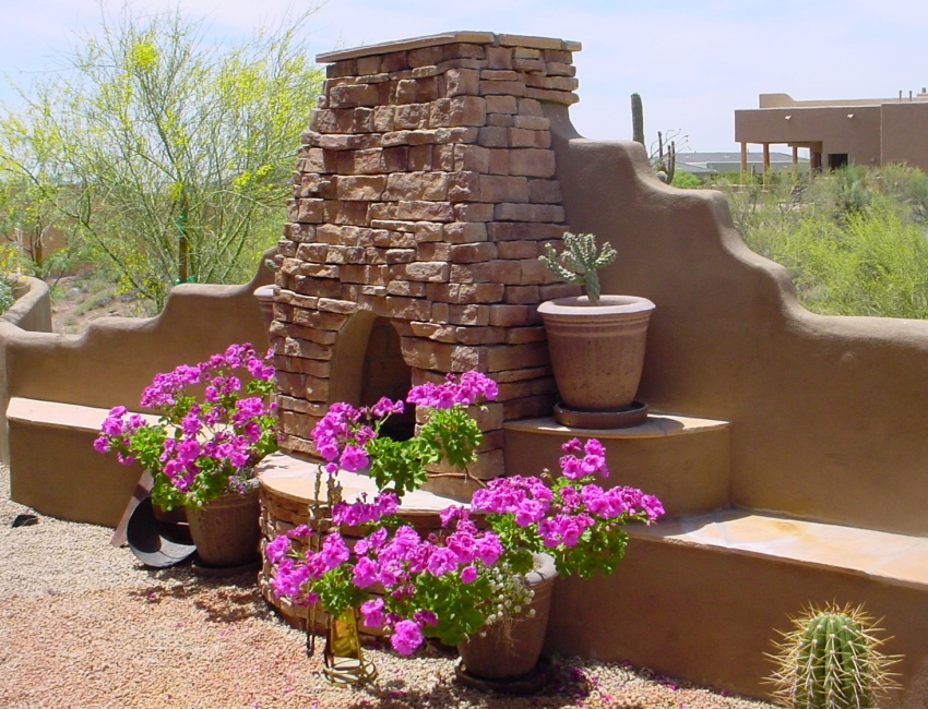 Scottsdale - Phoenix Outdoor Fireplaces: stone, stucco, tile, and concrete options