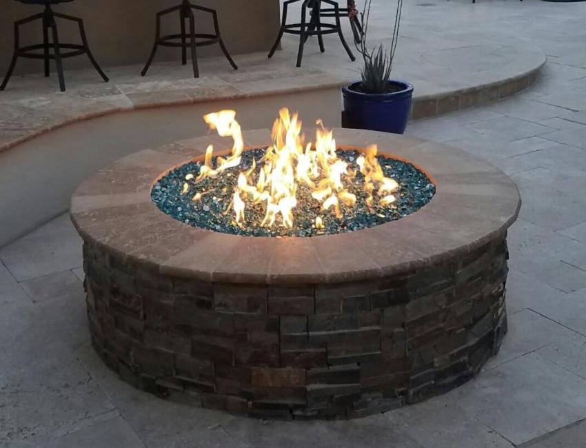 Phoenix - Scottsdale Outdoor Fire Pits: stone, stucco, and concrete