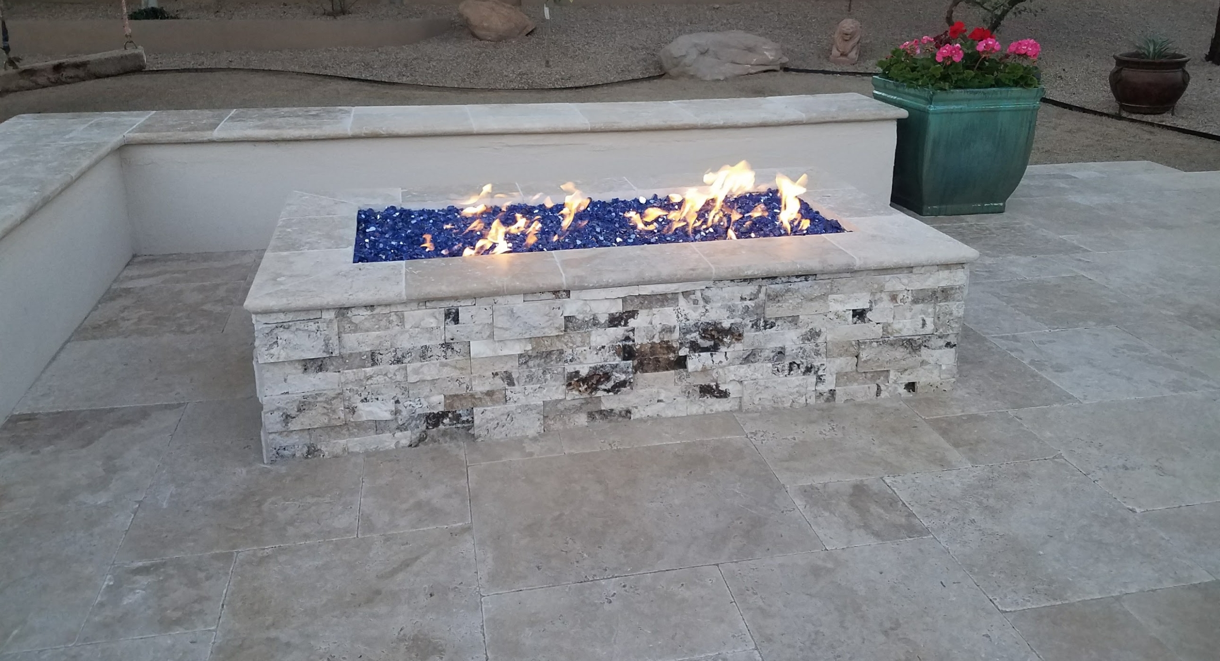 Add some extra sparkle to that new patio with next gen Phoenix fire pit design. Cobalt blue Fire Glass is gorgeous flaming or not.