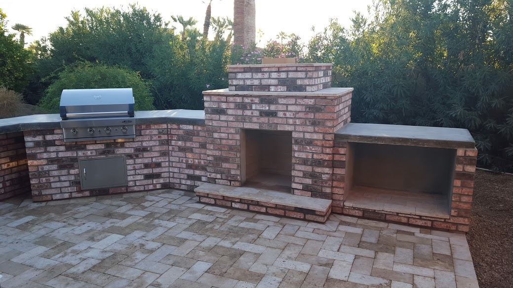 Old brick outdoor fireplace & BBQ combo, Phoenix casual modern rustic look.