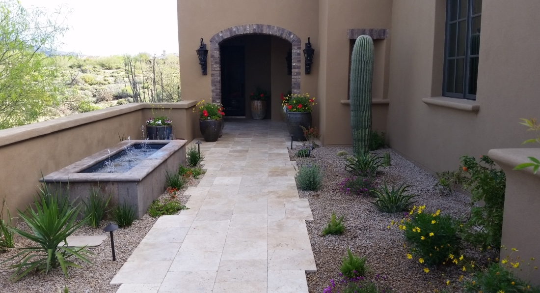 This xeriscape garden will grow into surprisingly lush beauty soon. A lovely Scottsdale courtyard design by Desert Crest LLC.