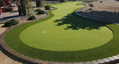Custom backyard putting greens, Scottsdale, available from Desert Crest LLC. Designed to help you hone your game. Built from top quality synthetic turf.