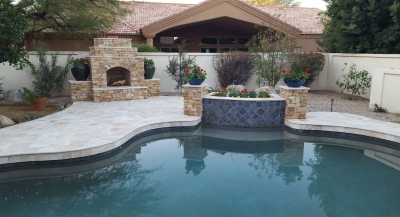 Older pool surfaces aren't as easy to clean or as long lasting as new Pebble Sheen. We used that on this conplete pool remodeling. Scottsdale clients chose Color Sand with Puerto Rico Glass Blend.