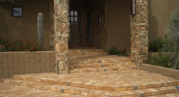 Valley landscaping often includes exterior stone veneer installation. Scottsdale and Phoenix clients often ask us to do stone veneer work on other parts of their house.