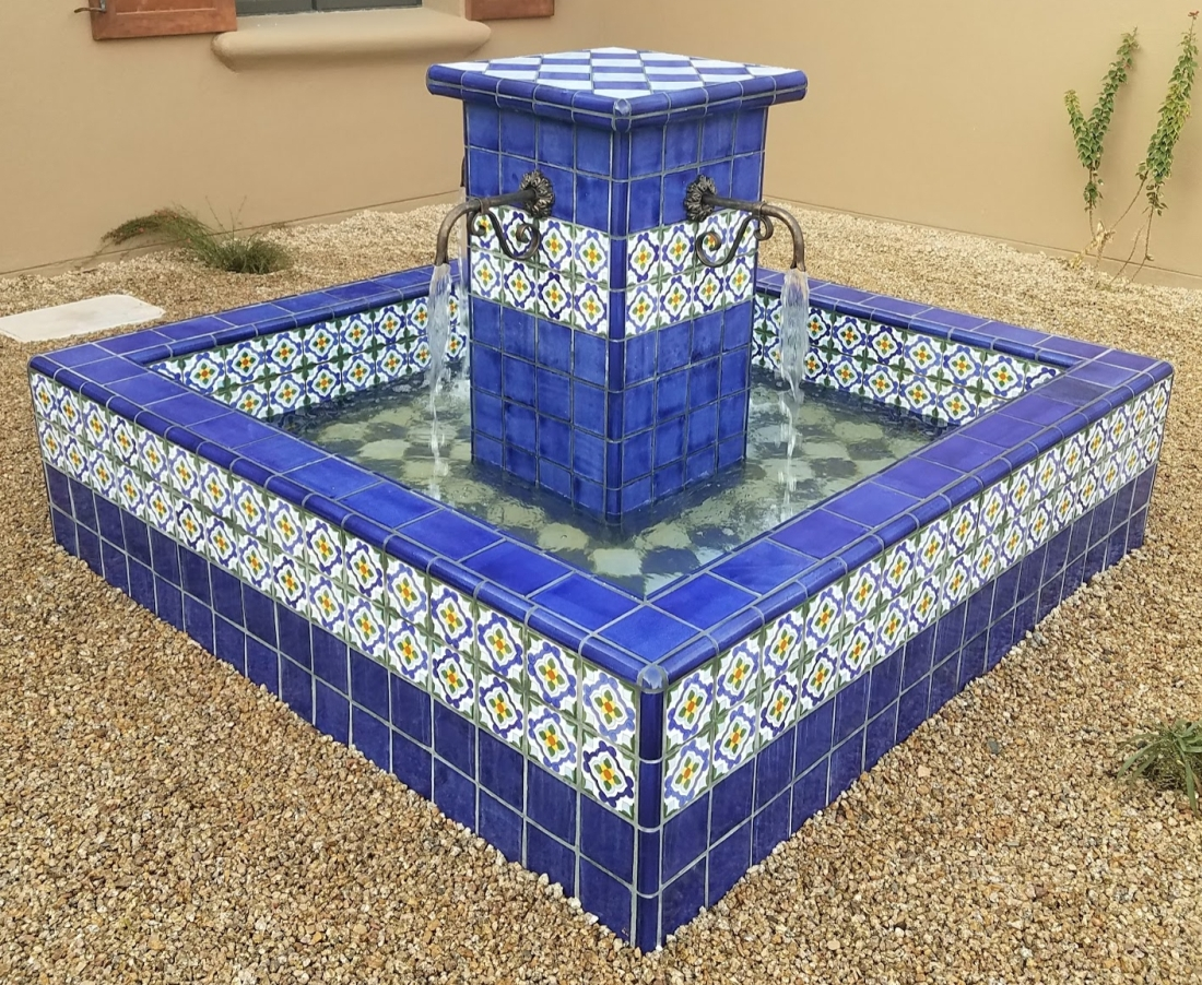 A look at the accent tile work in the basin and central post cap. Mexican tile outdoor fountains, Scottsdale AZ courtyard or patio landscaping clients will find adds welcome color in every season.