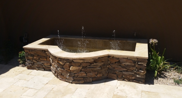 The great thing about custom outddor fountains, Scottsdale AZ homeowners get the perfect styling to suite their taste and home styling. We build a lot of natural stone fountains for courtyards, patios, and pools.