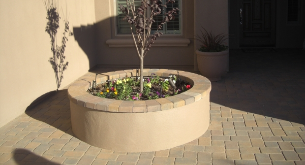 Color plays an important role in making a space feel bigger. Using the matching or close in value colors for the raised garden wall stucco ad pavers in Peoria, AZ courtyard, it seems larger than it is.color