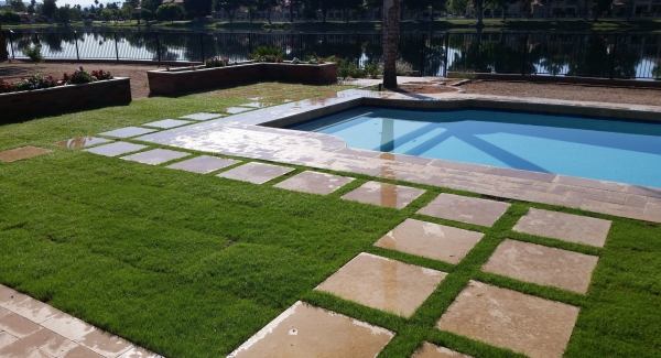 Did you know that paving of any kind increases heat in the space? With mixed material decking after pool remodeling, Glendale AZ clients have a cooler pool experience.
