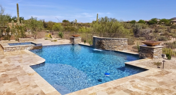 Several builders rely on us to provide expert swimming pool finishing. Scottsdale builder client also has us do all the exterior stone work, pool decking and patio, along with putting in built-in grills, fire pits, pool fountains or waterfalls, torches and more.