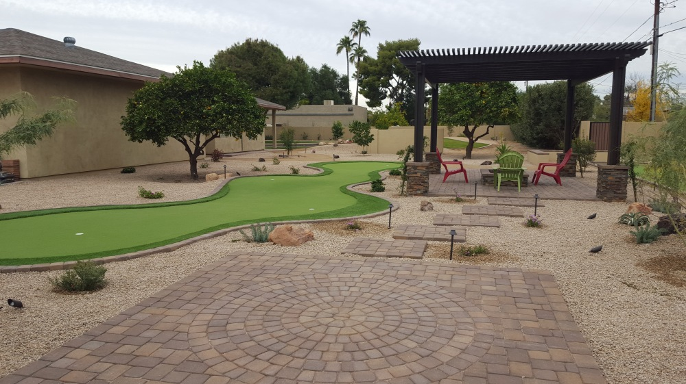 Imagine turning your backyard into a micro resort with synthetic grass. Scottsdale putting green is just the beginning of these clients' adult play space attractions.