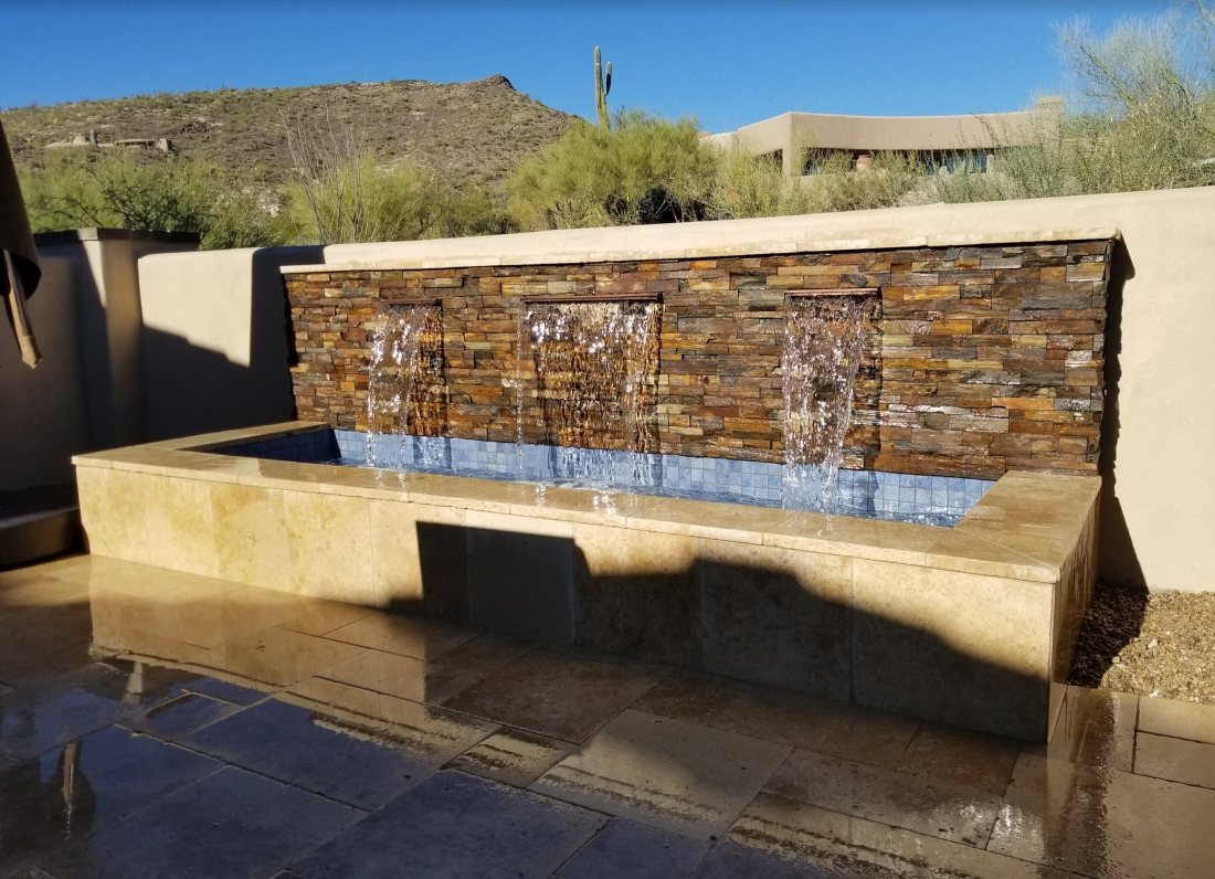 You can set multiple channel waterfalls in long, narrow outdoor fountains. Scottsdale, AZ condo owners do have plenty of room for beautiful water features on a really small patio!