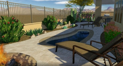 This tiny backyard contains everything the homeowners wanted. A scene from their 3D Phoenix backyard design video. The homeowners will have a cool little pool, fire pit, along with a built-in grill and outdoor dining space under a shade ramada.