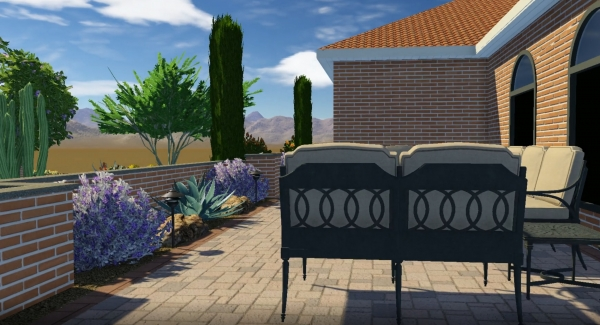 A snap shot from a complete yard. This entry courtyard is part of a virtual reality tour Paradise Valley landscape design; both front and back yards with a full-featured outdoor living space patio and swimming pool.