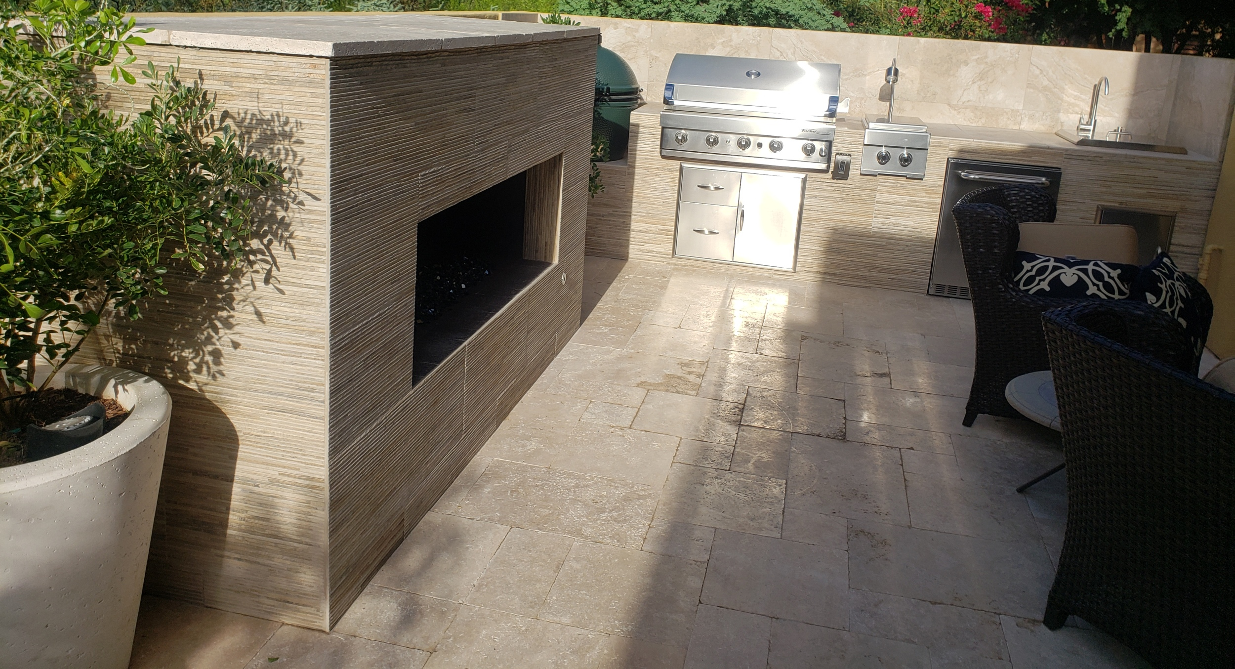 Textural interest adds new dimension to modern outdoor spaces like this new outdoor kitchen Scottsdale condo owners had us build.