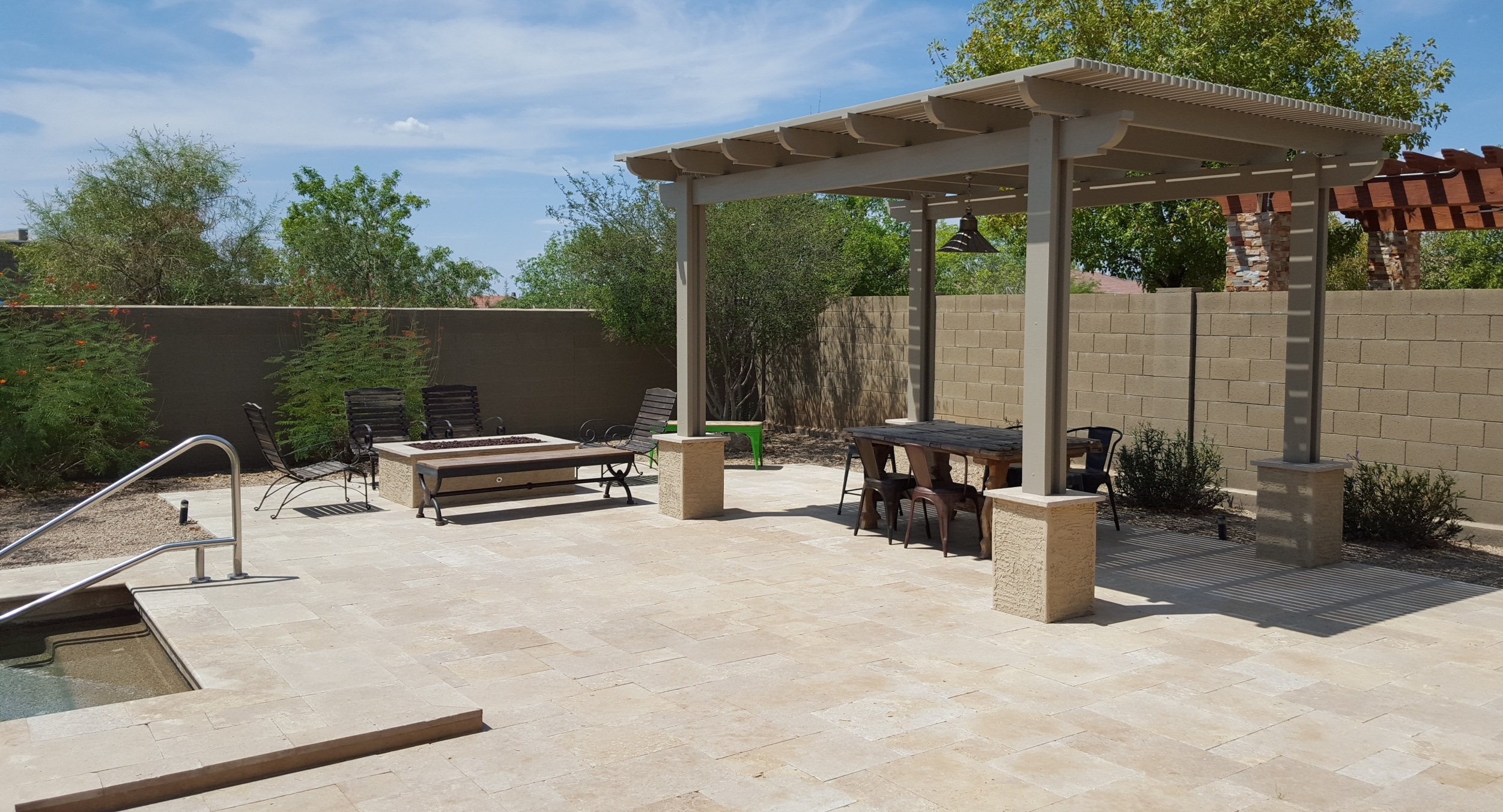 What are hardscapes? Phoenix and Scottsdale landscaping that is non-plant. Like this modern backyard design which is 90% hardscaping and 10% plantings.